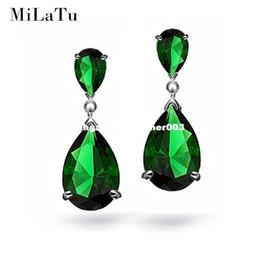 Wholesale Angelina Jolie Earrings - MiLaTu Green Zirconia Drop Earrings For Women Angelina Jolie Water Drop Pending Earrings Women Wedding Jewlery Gift E008TJ