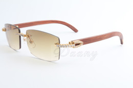 Wholesale Wood Large - New direct sales limited edition large diamond high quality sunglasses men and women wood sunglasses 3524012 (2) Size: 56-18-135mm