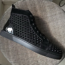 Wholesale Mens Casual Shoes Buckles - New Mens Womens Black Gitter Leather With Black Spikes High Top Red Bottom Sneakers,Brand Patchwork Casual Shoes 36-46 Drop Shipping