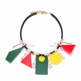 Wholesale Mixed Geometric Necklace - Trendy Mixed Colour Geometric Chokers Necklace & Pendants for Women Charms Crystal Leather Cord Brass Brand Jewelry