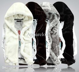 Wholesale Mink Fur Vest Hood - Wholesale-XXXL New2015 Fashion Winter Faux Mink Fur Leather Vest Men Women Couple Sleeveless Waistcoat Vest Sport Casual Hood Jacket D1353