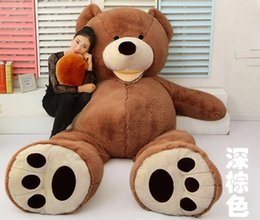 Wholesale Zipper Teddy - 200CM DARK BROWN TEDDY BEAR (ONLY COVER) PLUSH TOY SHELL (WITH ZIPPER) 79""