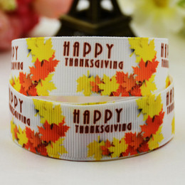 Wholesale Thanksgiving Hair Accessories - DIY Decoden Craft Thanksgiving Day Maple Leaf Printed Grosgrain Roll Ribbons Children Hair Bow Grosgrain Party Decorative Accessories