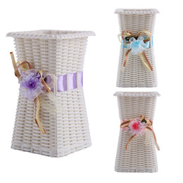 Nuevo jarrón de diseño online-Jarrón de flores de plástico reutilizable Decoración del hogar Jarrón de diseño delicado a estrenar
