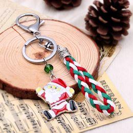 Wholesale Leather Bags Cheap Men - Santa Claus Keychain Cheap Key Ring Holder Porte clef Gift Women Men Souvenirs Bag Pendant PU leather Car Rings HYKX11381