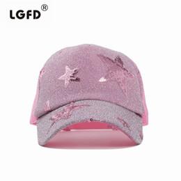Wholesale Wholesale Women Bling Caps - Wholesale- 2016 summer women Five-pointed star pattern BLING Mesh Cap Snapback baseball cap Trucker hat