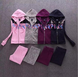 Wholesale High Quality Yoga Pants - Newest high quality Sweatshirt + Pants 2 Pieces Set Spring Women Lovely Love PINK Print flower Sporting Suits for Ladies Leisure Tracksuit