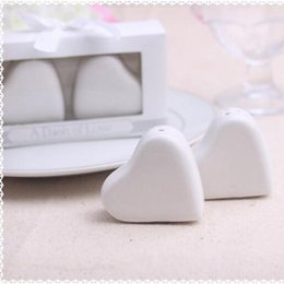 """Wholesale Wholesale Heart Salt Shakers - DHL free shipping 50sets  lot Wedding Favors Gifts of """"A Dash of Love"""" White Ceramic Heart Salt and Pepper Shakers"""