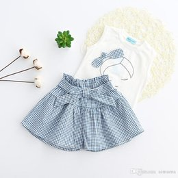 Wholesale Short Skirt Strips - Fashion Baby Girls Dress Child Clothing Sets Summer Short Sleeve T-Shirts+Strip Skirts Outfits Set 2 Piece Free Shipping