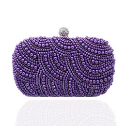 Wholesale Ivory Pearl Wedding Handbag - Wholesale-2016 purple pearl evening bag beaded clutch purse bag wedding bridal clutches party wallet chains handbag blue black grey JXY461