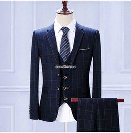 Wholesale Men S Suits Plaid - Free shipping hight quality men plaid slim fit suit 3 pcs (Jacket+Vest+Pants) Wedding groomsman caual party suit 3 color