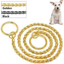 Wholesale Chrome Metal Chains - Snake Chain Dog Show Collar Heavy Metal Chain Dog Training Choke Collar Strong Chrome or Gold 3mm 4mm 5mm PET325