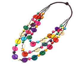 Wholesale Sweater Made Hand - Hand made Weave Ladies Beaded Necklace Bohemia Coconut Shells Multi Layer Beads Jewelry Multicolor Long Sweater Necklace