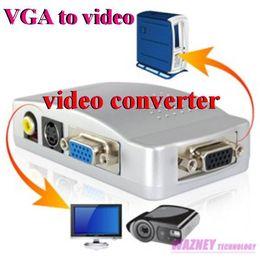 Wholesale Tv System Converter Pal Ntsc - 50PCS lot* VGA to video Universal PC VGA to TV AV RCA Signal Adapter Converter Video Switch Box Supports NTSC PAL system