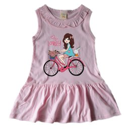 Wholesale Sheath Dress Kids - kids girl dress with beautiful printing summer sleeveless clothing children dresses fashion newly