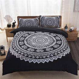 Wholesale Quilts Modern - 2017 New Luxury Boho Bedding Set Crystal Arrays Mandala Bed Set Duvet Quilt Cover Black Printed Bedspread 3Pcs set Free Shipping
