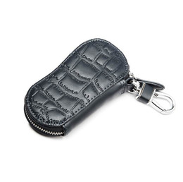 Wholesale Leather Key Chain Hook - Embossed Genuine Leather Men Car Key Holder Wallet Housekeeper Short Purse Zipper Coin Pocket Snap Hook Buckle Key Case Bag
