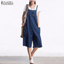 Wholesale Womens Plus Denim - Wholesale- ZANZEA 2017 Autumn Denim Rompers Womens Jumpsuit Sexy Sleeveless Wide Leg Playsuit Calf Length Overalls Plus Size S-5XL