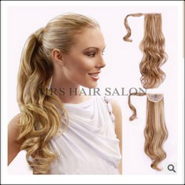 Wholesale Hair Clips For Ponytail Extensions - Wholesale- 22Inch Ponytail Hairpieces Braid Curly Synthetic Hair Ponytail Clip On Hair Extensions For Beauty Girl Curly Ponytail Extensions