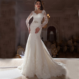 Wholesale Dress Sashes Diamonds - 2016 Gorgeous wedding dresses Long Sleeves diamond Sash Mermaid Wedding Dresses Stunning Crystal Bridal Dresses Sexy V neck Wedding dress