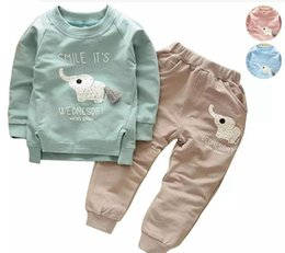 Wholesale Elephant Clothes Suit - INS Cartoon Animal Pattern Elephant Kids Suits Spring Autumn Sports Sweatshirt + Casual Pants 2pcs Boys Girls Clothing Set Children Sets