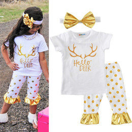 Wholesale Cute Christmas Girl Outfits - Christmas Girls Outfits Summer 3 pcs Letter Deer Printed Dot Ruffled Pants Bow Headband Clothes For Girls 2017 Fashion Kids Clothing