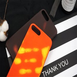 Wholesale Temperature Sensor Color - Thermal Sensor Case For iPhone 5S 5SE 6s 7G 8 Plus Thermosensitive Color Change Temperature Sensing Heat Magical PU Fingerprint Shell Cover