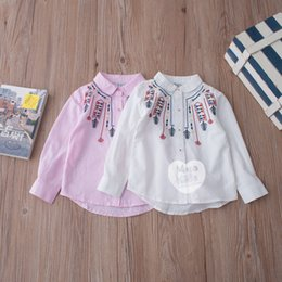 Wholesale Down Feathers Wholesale - Hot sale Autumn 2017 new Cotton feather embroidery Girls Shirts white long sleeve Kids Shirts Children Tops Toddler Shirt Kids Clothing A722