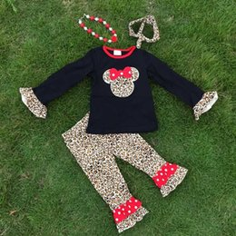 Wholesale Leopard Long Necklace - Wholesale- new arrival FALL OUTFITS kids Leopard grain minnie top sets girls ruffle pant sets girls boutique with necklace and headband