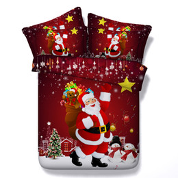 Wholesale Father Christmas Cover - Cartoon Father Christmas Red3D Bedding Sets Cotton 100% Fabric Set Duvet Cases Pillow Covers Flat Bed Sheet Home Textiles King Queen Twin