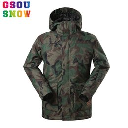 Wholesale Sport Snowboard Jackets - Wholesale- Gsou Snow Ski Jacket Men Camouflage Thicken Snowboard Jacket Men Warmth Breathable Waterproof Outdoor Sports Winter Snow Coats
