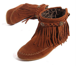 Wholesale Womens Leather Boots Fringe - Wholesale-US5-9 Suede Leather Moccasin Fringe Tassel Ankle Boots womens wedge shoes