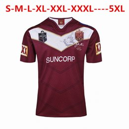 Wholesale Nrl Rugby League - 2018 NRL National Rugby League Australia Queensland QLD Maroons Rugby jersey Johnathan THURSTON 6 jerseys shirts Extra large size S-4XL-5XL
