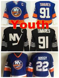 Wholesale Ny Yellow - Youth New York Islanders Jerseys Throwback #22 Mike Bossy Jerseys Kids NY Islanders Boys 91 John Tavares Jerseys Stitched Ice Hockey Jersey