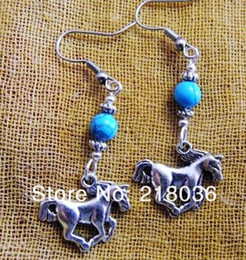Wholesale Horse Dangling Charms - Wholesale Fashion 50Pair Antique Silver Running Horse Charms Dangle Earrings For Women With Gift Box DIY Finding Jewelry Accessories M2900