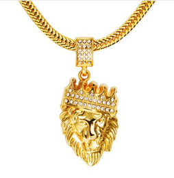 Wholesale Pure Gold Necklace Chain - 2017 promotion Lion Head Pendent Winter Necklace Punk Rap Style Rock Hip Hop Pure Gold Plating Chain Gifts For The New Year