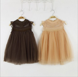 Wholesale Baby Girl Tutu Puffy Dresses - 2017 new arrivals girl lace dress top quality kids tulle lace princess party dress baby girl fly sleeve puffy dress