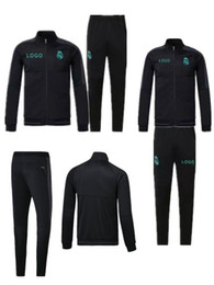 Wholesale Track Suits Jackets - top quality 17 18 Full Zipper Tracksuit Real Madrid Soccer Jacket Jogging Football Tops Coat Pants Training Suit Men Adults Track Suit