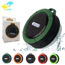 Wholesale Portable Speakers Mp3 - C6 Speaker Bluetooth Speaker Wireless Potable Audio Player Waterproof Speaker Hook And Suction Cup Stereo Music Player With Retail Package