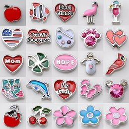 Wholesale Memory Living - 100Pcs Lot Floating Charms For Glass Living Memory Floating Locket Mix Design Assorted Charms DIY Alloy Accessories 2017 Summer style