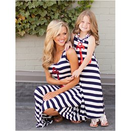 Wholesale Daughter Mother Fashions - Mother and Daughter Family Dress Blue and white stripes and anchor sequins Sleeveless Dress Family Clothes