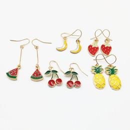 Orecchini di anguria online-Orecchini smalto frutta mista per ragazze Smalto Ananas Banana Cherry Strawberry Watermelon Earrings Summer Hawaii Bulk Jewellery