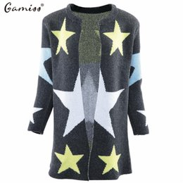 Wholesale Computer Points - Wholesale- Gamiss New Fashion Gardigan Female Autumn Casual Sweater Women Five-Pointed Star Pattern Loose Slim Warm Knitted Long Sweater