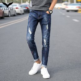 Patch pantalone harem online-All'ingrosso-VAGESE 2017 Estate Uomo Jeans Strappato Biker Hole Denim Patch Dot Harem Pant Casual Uomo Jeans dritti Slim Pantaloni
