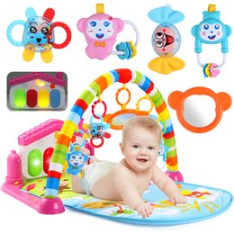 Wholesale Toy Baby Games - Wholesale- 2016 NEW Baby piano pedal Multifunctional body-building frame Children baby crawling pad game blanket early music toys