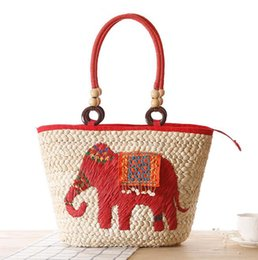 Wholesale Handmade Fabric Bags - Factory sales branded bag Bohemia elephant straw bag folk style handmade embroidery embroidered with woven bag elephant summer beach bags