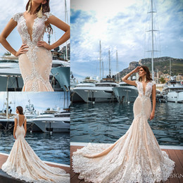 Wholesale Design Gold Dresses Wedding - 2017 New Crystal Design Plunging V-neck Mermaid Wedding Dresses Backless Cap Sleeves Lace Appliques Sexy Vestios Do Novia Bridal Gowns