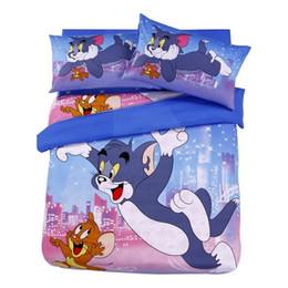Wholesale Tom Jerry Duvet Cover Set - Tom and Jerry cartoon Bedding sets 100% cotton fabric printed cat Comforter Duvet Cover 3 4 5PCS kids boys bed sheet linen