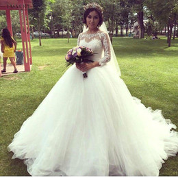 Wholesale Vintage Silver Brush - 2017 Vintage Ball Gown Lace Wedding Dresses Sheer High Neck Illusion Long Sleeves Plus Size Brush Train Bridal Gowns 2017 New BA3621