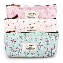 Wholesale Flower Pencil Cases - 2017 Hot-selling Flower Floral Pencil Pen Canvas Case Cosmetic Makeup Tool Bag Storage Pouch Purse 3 styles